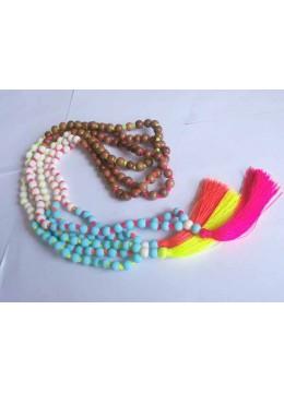 Beaded Tassel Necklace Stone