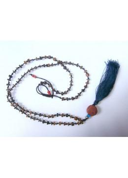 Beaded Stone Tassel Necklace