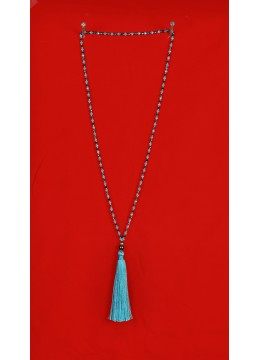 Long Beaded Tassel Necklaces with Black Pearl