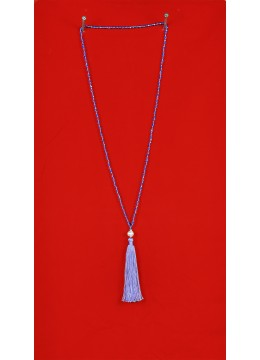 Long Beaded Tassel Necklaces with White Pearl