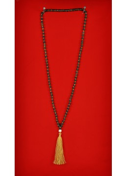 Boho Chic Wood Tassel Necklace with Pearl
