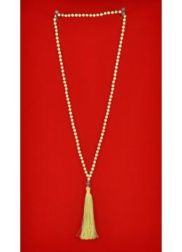 Boho Chic Wood Tassel Necklace with Gemstones