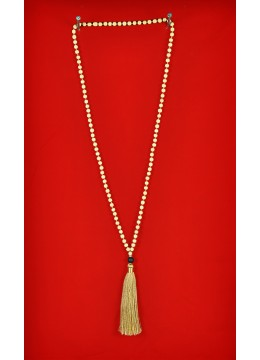 Boho Chic Wood Tassel Necklace with Lava