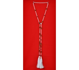 Long Beaded Lariat Tassel Necklace with Pearls