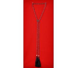 Long Beaded Lariat Tassel Necklace Black Pearl