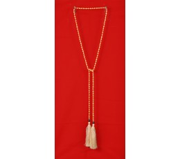 Long Beaded Lariat Tassel Necklace Gold Pearl
