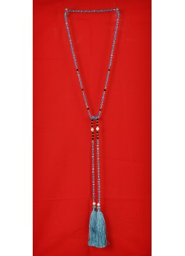 Long Beaded Lariat Tassel Necklace with Pearl
