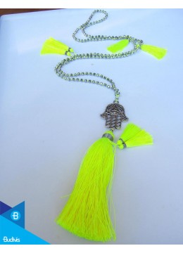 Hand Knotted Long Cristal Tassel Necklaces With Hamsa