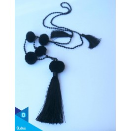 Hand Knotted Long Cristal Tassel Necklaces With Pompom