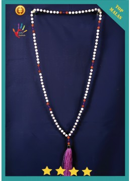 For Sale Mala 108 Gemstones Howlite Long Hand Knotted Necklace