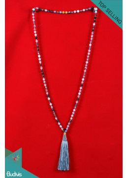 Export Quality Mala 108 Grey Agate Long Hand Knotted Necklace