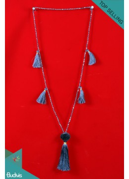 Best Model Long Crystal With Pom Pom Hand Knotted Necklace