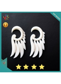Best Model Bali Earring Ox Bone Carved Wing Design Body Piercing