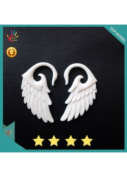 Direct Crafter Bali Earring Ox Bone Carved Wings