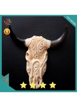 Factory Price Bali Ox Bone Carved Skull Head Buffalo