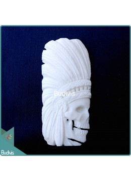 Indian Skull Style Ox Bone Carved Spirit Model