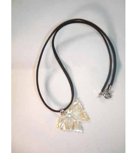 Carved Mop Pendant Necklace From Bali