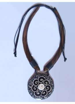 Wood Choker Pendant Necklace Made in Bali
