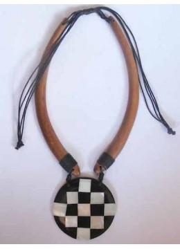 Wood Choker Pendant Necklace Top Model