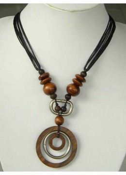 Natural Beaded Wood Necklace