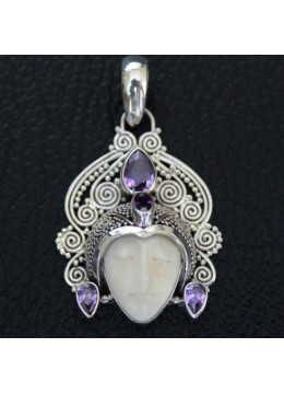Moon face bone carved silver pendant 925