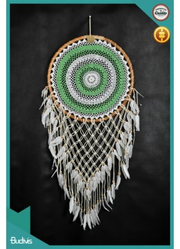 Bali Large Rattan Combi Colour Hanging Dreamcatcher Crocheted