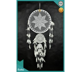 Best Selling Large Triple White Hanging Dreamcatcher Crocheted
