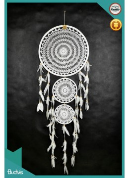 For Sale Large Triple White Hanging Dreamcatcher Crocheted