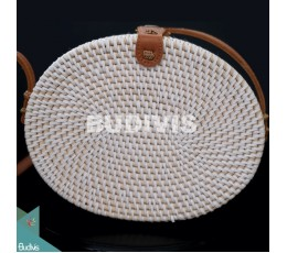 Best Selling Oval Bag White Synthetic Rattan