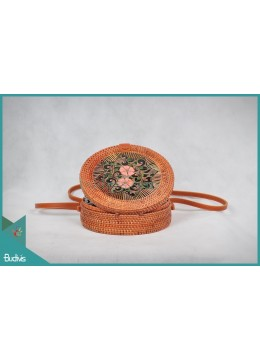 Wholesaler Round Bag Natural With Flower Woven Rattan