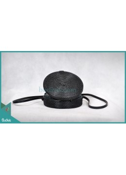 Top Model Round Bag Black Synthetic Rattan