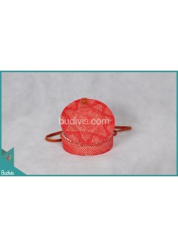 Bali Round Bag Pink Synthetic Rattan