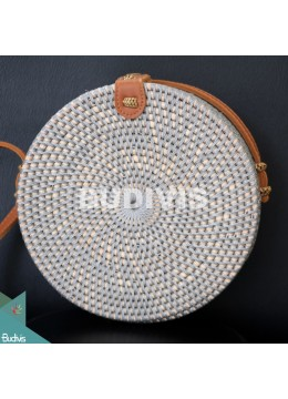 Best Selling Round Bag Grey Synthetic Rattan