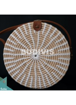 Top Sale Round Bag White Synthetic Rattan