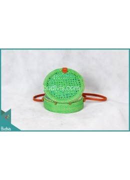 Wholesale Round Bag Green Synthetic Rattan
