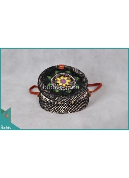 Top Model Round Bag Black Synthetic With Wooden Flower Rattan
