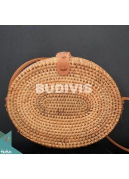 Bali Oval Bag Natural Brown Full Rattan