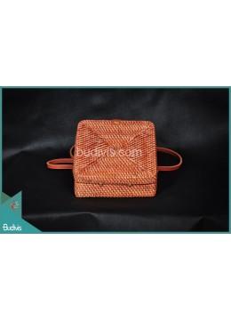 Manufactured Square Bag Brown Natural Painting Rattan
