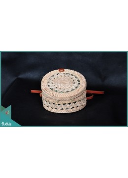 Original Bali Round Bag White Synthetic With Side And Circle Triabal Rattan