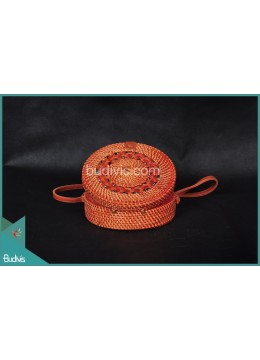 Top Sale Round Bag Red Antique Painitng Full Rattan With Tribal Circle
