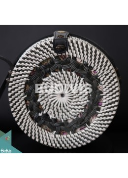 Wholesale Round Bag White Black Sythetic Rattan With Tribal Woven
