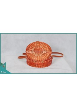 Top Model Round Bag Red Painting Rattan