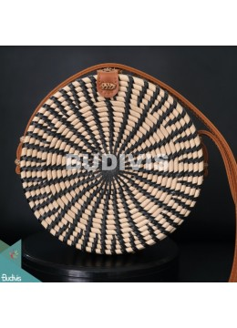 Black Stripe Rattan Bag 100% Handmade