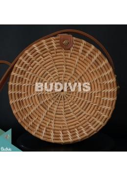 Best Selling Natural Stripe Round Rattan Bag