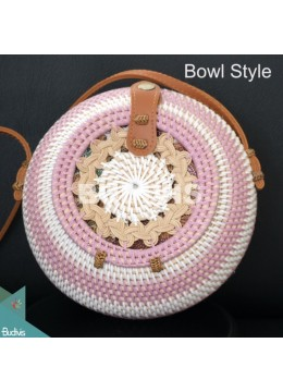 White With Pink Stripe Bowl Model Rattan Bag