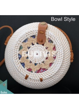 Bowl Style White Rattan Bag With Woven At The Top