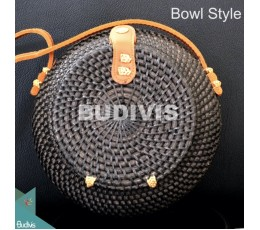 Bowl Style Black Rattan Bag With Leather Strap