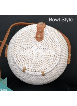 Bowl Style Rattan Bag With Plain White Color