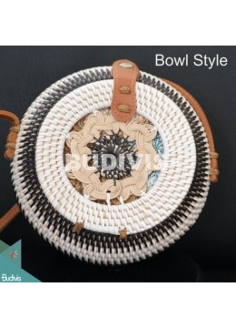 Bowl Style Rattan Bag With White And Black Stripe Color