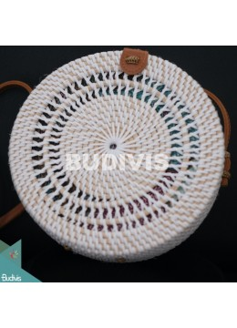 Top Model White Rattan Bag With Double Spiral Hand Woven